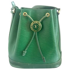 Vintage Valentino Garavani green epi leather bucket NOE style shoulder bag.