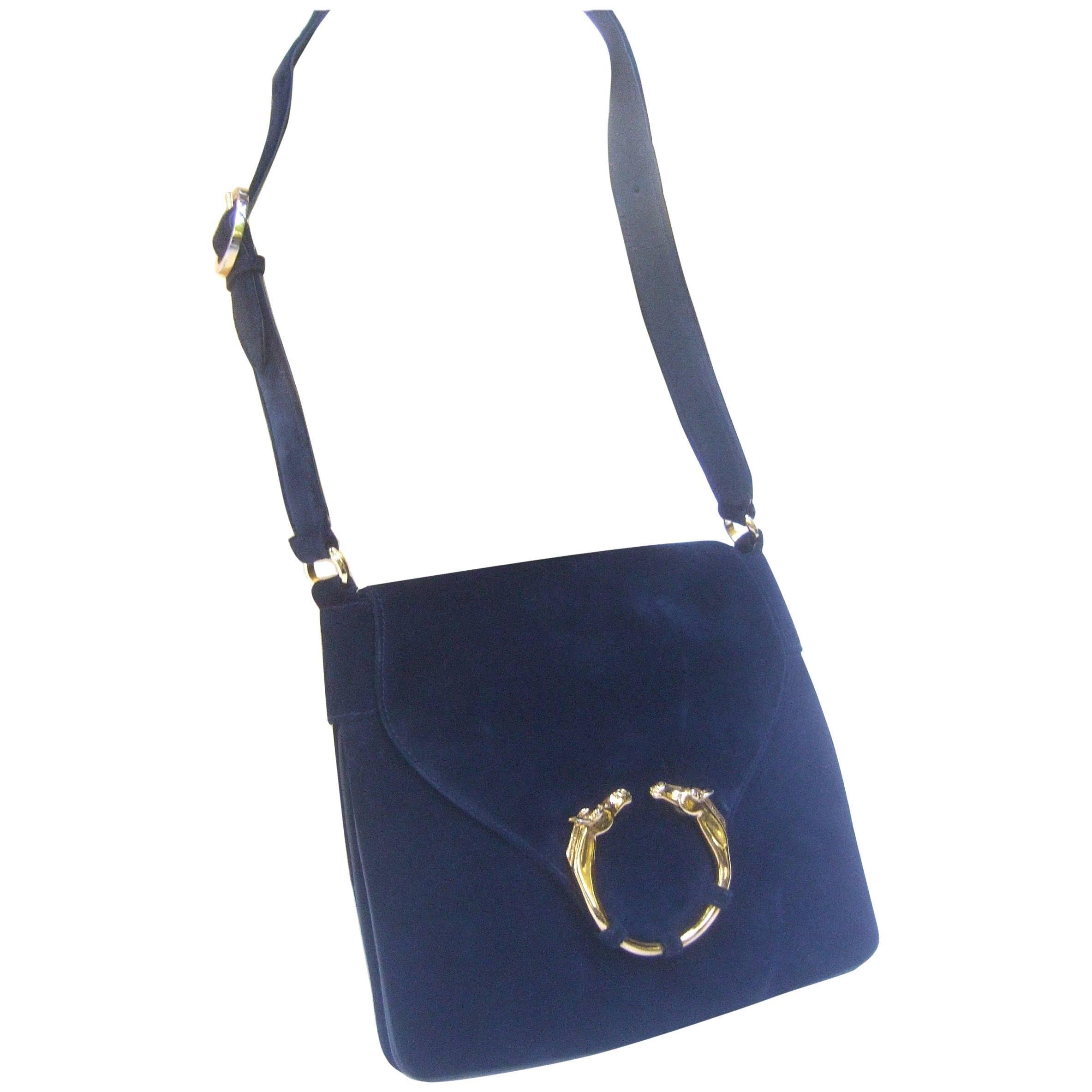 Gucci Rare Midnight Blue Equine Emblem Shoulder Bag c1970s