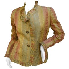 Bill Blass Striped Brocade Ruffled Trim Jacket for Saks Fifth Avenue