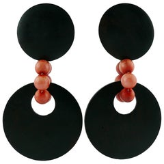 Yves Saint Laurent YSL Vintage African Inspired Wood Dangling Earrings