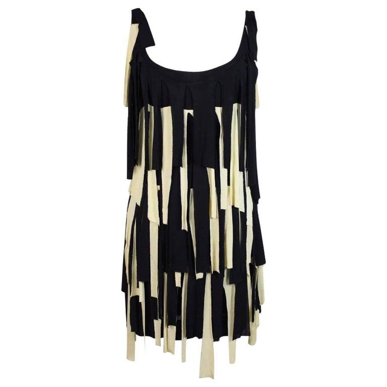 Moschino Couture Charleston Beige Blue Fringed Italian Dress, 1980