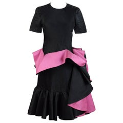 Capucci Roberto vintage black fuchsia silk draping dress size 42 it 1980s
