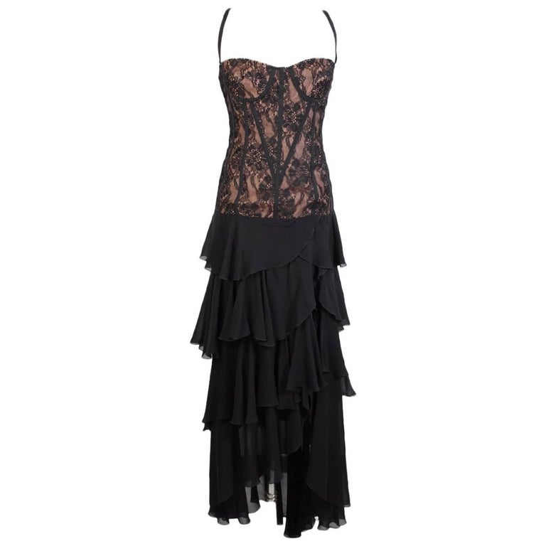 Gai Mattiolo silk black lace cocktail dress size 42 it made italy new with tag