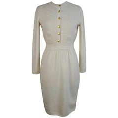 Fendi vintage wool beige dress size 42 it gold button 1980s made italy