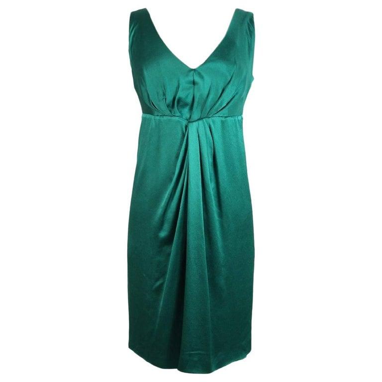 Alberta Ferretti silk emerald evening dress size 40 it made italy 2000s