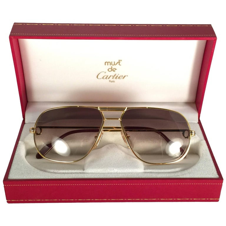 d12f9e759776 New Cartier Tank 59mm Medium Gradient Vendome Sunglasses France 18k  Sunglasses For Sale
