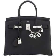 Hermes Birkin 30 Black Togo Palladium Hardware Bag A Stamp