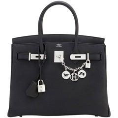 Hermes Birkin 30 Black Togo Palladium Hardware Bag A Stamp