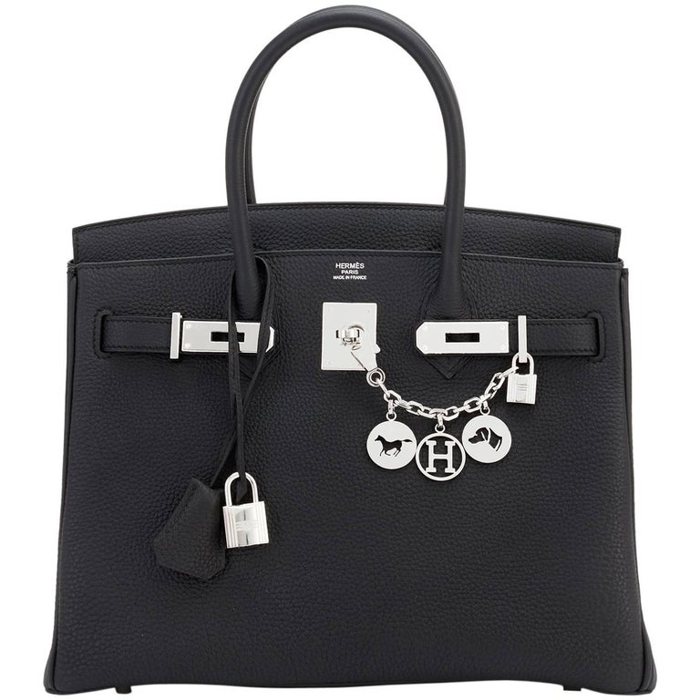 Hermes Birkin 30 Black Togo Palladium Hardware Bag A Stamp For Sale ... c560bec9d0429