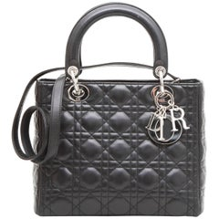 CHRISTIAN DIOR 'Lady Dior' Bag in Black Quilted Leather