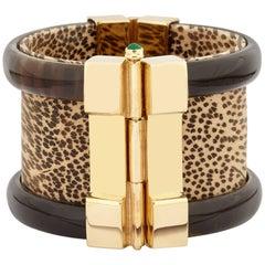 Fouche Bespoke Horn Gold Emerald Leopard Wood Cuff