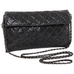 CHANEL Evening Bag in Black Quilted Laminated Leather