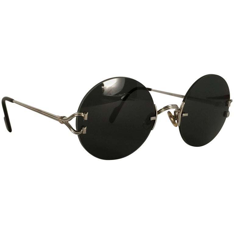 237bcfc0c8 New Cartier Madison Special Edition Round Rimless Platine 50mm Sunglasses  For Sale
