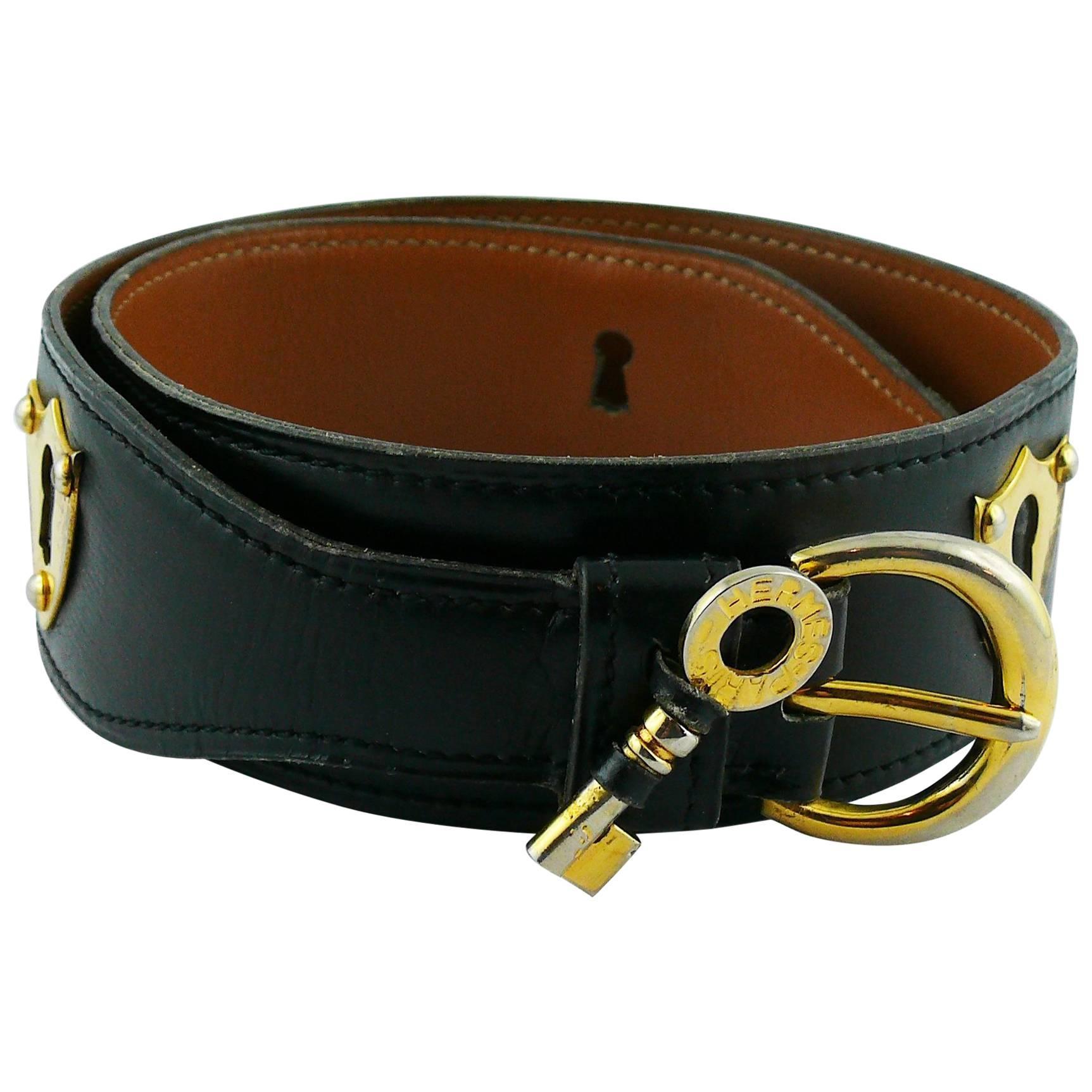 "Hermes Vintage ""Key Escutcheons"" Black Leather Belt, 1972"