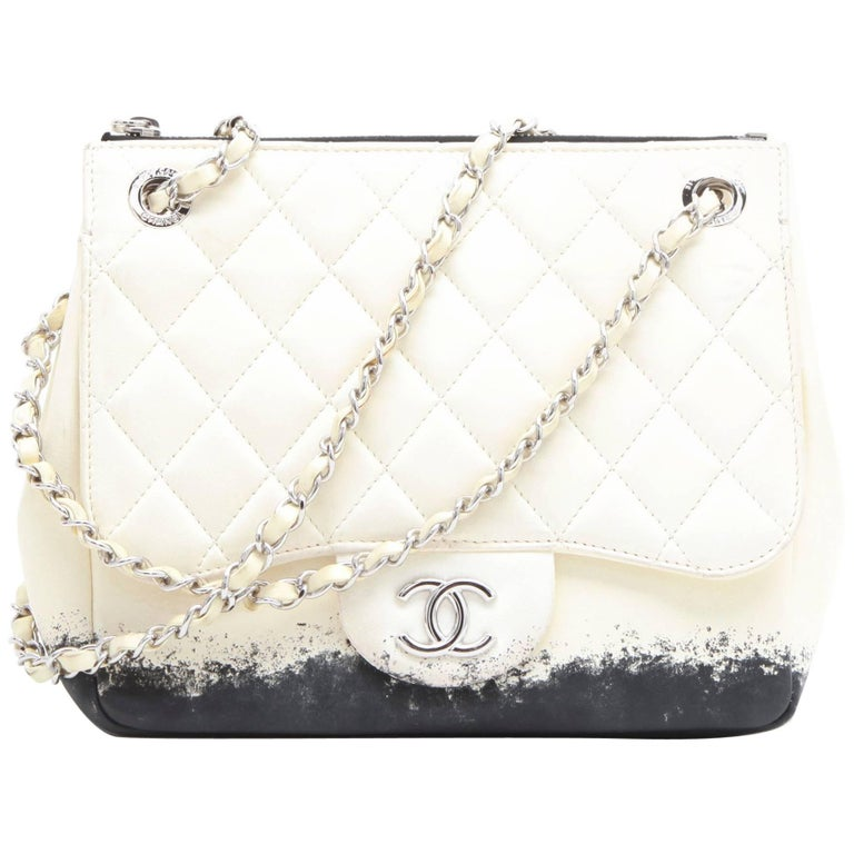 Chanel Bag In Beige And Black Lamb Leather For