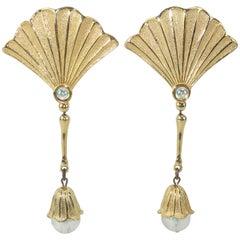 1970's Jonette Jewelry Ginkgo Leaf Dangle Earrings