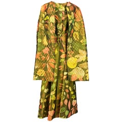 1980's Hermes Printed Silk Coat, Waistcoat and Maxi Skirt Ensemble