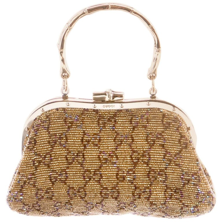 COLLECTIBLE TOM FORD for GUCCI EMBELLISHED GOLD CLUTCH BAG