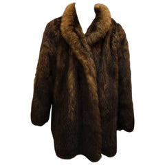 Vintage Yves Saint Laurent YSL Opossum Fur Coat. Size 40-42 french