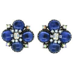 Vendôme 1950s Blue Glass Cabochon Vintage Earrings