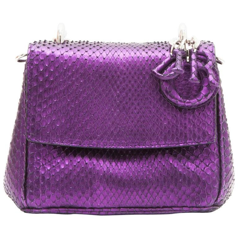 Christian Dior Metallic Purple Python Double Flap Bag