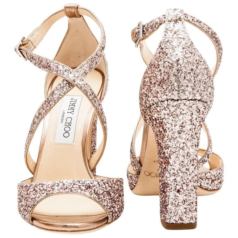Jimmy Choo High Heel Sandals in Pink Sequins Size 40EU