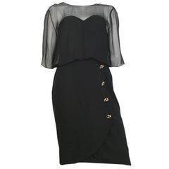 Jean Louis Scherrer Black Evening Cocktail Dress Size 12.