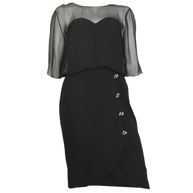 Jean Louis Scherrer Black Evening Cocktail Dress Size 12 For Sale