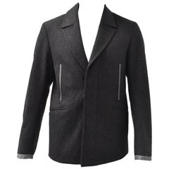 Alexander McQueen Grey Wool Jacket with Leather Details