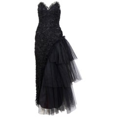 Yvan & Marzia 1980s Black Lace and Tulle Partydress