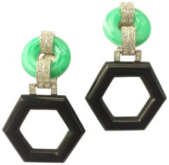 Art Deco style geometric drop earrings, Kenneth Jay Lane, 1970s