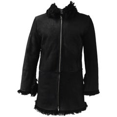 Unlabelled Belgian Black Shearling Coat