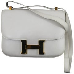 Hermes Vintage Constance Bag in White Grained Togo  Leather