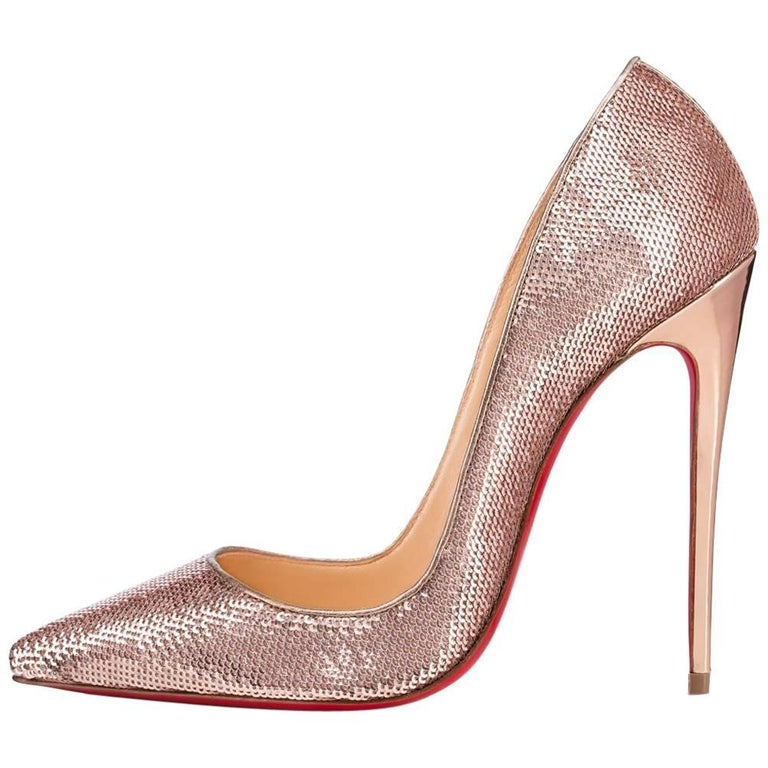 b5dea79e2026 Christian Louboutin New Rose Gold Pink Sequin So Kate High Heels Pumps in  Box For Sale