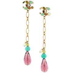 Chanel Logo Dangle Earrings