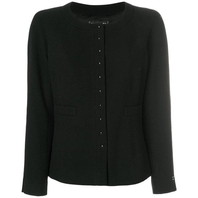 Chanel Black Wool Boxy Cardigan