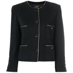 Chanel Black Collarless Boxy Jacket