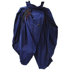 Issey Miyake Blue Wrap Around Gathered Tech Jacket With Multicolour Cord Detail