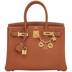 Hermes Birkin 30cm Gold Camel Tan Togo Gold Hardware Bag A Stamp