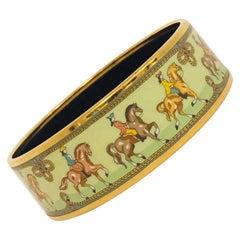 Highly Desirable Hermes Horsemen Gold Tone &  Green Enamel Bangle Bracelet