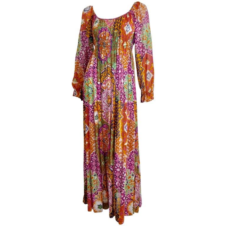 Bohemian Maxi Dress, 1970s  For Sale