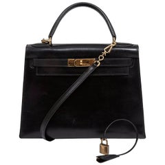 1988 Hermes Black Kelly Sellier 28 cm Box Calfskin Handbag