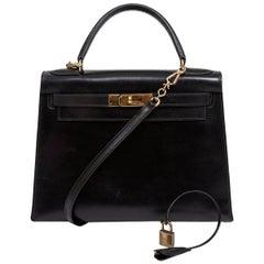 1988 Hermes Black Kelly Sellier 28 cm Box Calfskin Handbag