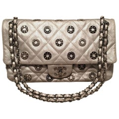 Chanel Silver Perforated Leather Classic Flap with Embellished Grommets