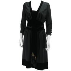 Azzaro Velvet and wool Dress Size 42 IT 38 FR 6 US