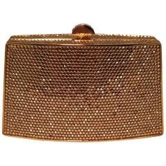 Judith Leiber Gold Swarovski Crystal Mini Minaudiere Evening Bag