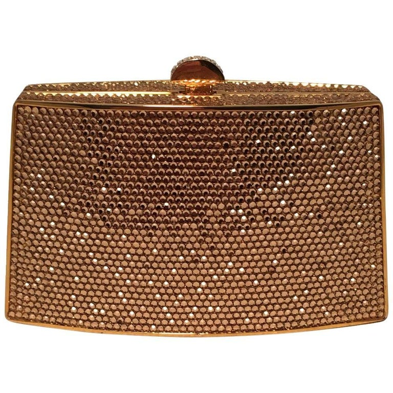 Judith Leiber Gold Swarovski Crystal Mini Minaudiere Evening Bag