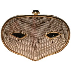 Judith Leiber Swarovski Crystal Phantom Of the Opera Mask Minaudiere Evening Bag