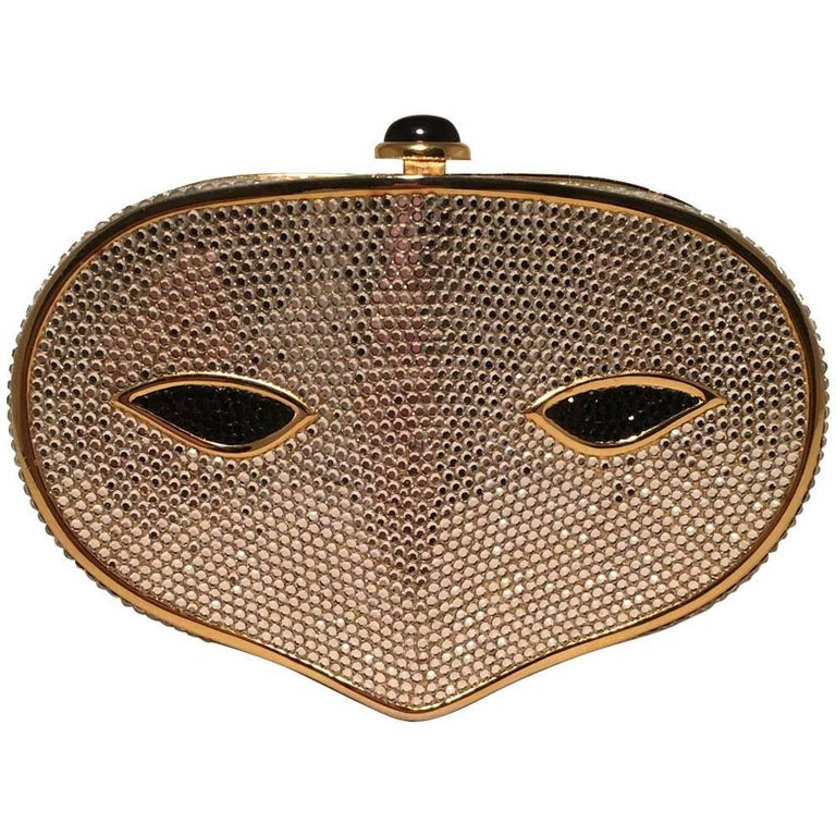 Judith Leiber Swarovski Crystal Phantom Of the Opera Mask Minaudiere Evening Bag For Sale
