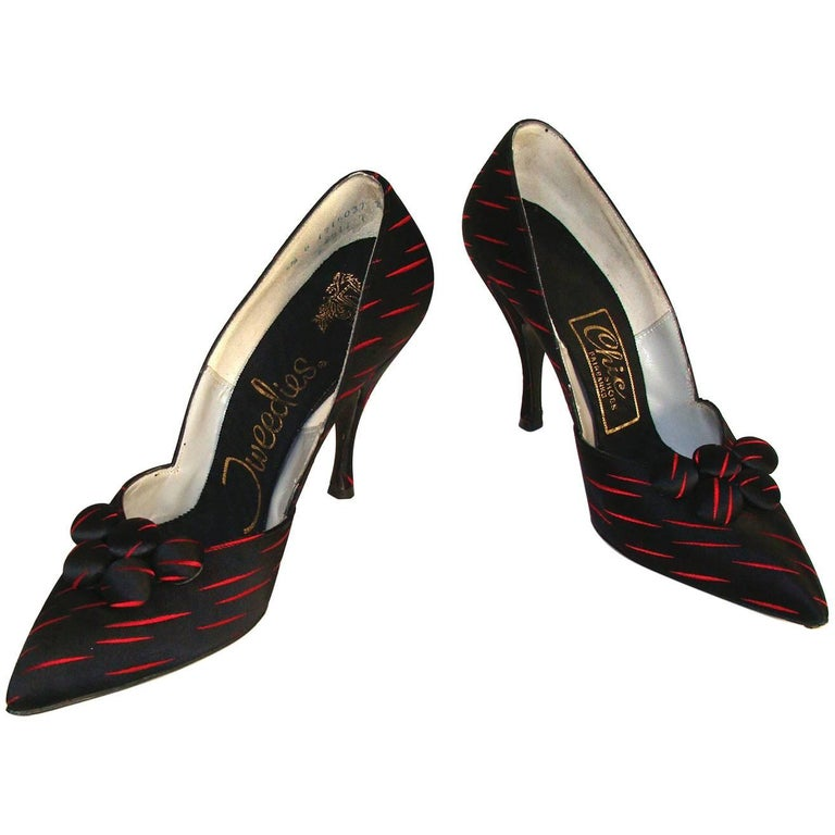 Brilliant Red and Black Silk Heels Holiday